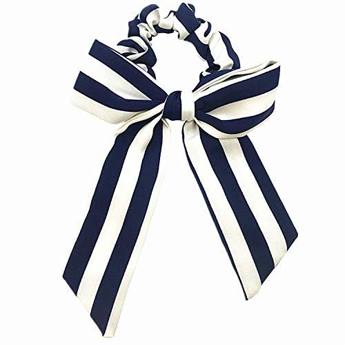 OULN1Y Bandeaux 1pcs Cotton Bow Scrunchies Flower Stripe Elastic Hair Band Girls Ponytail Holder Women Bow Knot Hair Tie Head wear,Royal Stripe