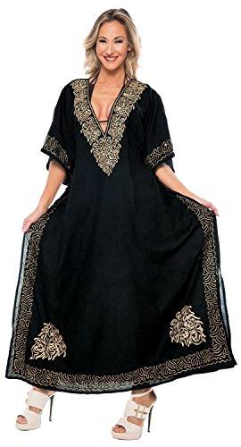 LA LEELA Mujeres caftán Rayón túnica 3D HD Impreso Kimono Libre tamaño Largo Abaya Vestido Jalabiyas de Fiesta para Loungewear Ropa de Dormir Playa Todos los días Cubrir Vestidos Halloween Neg