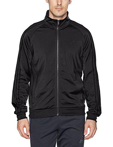 adidas Men's Essentials 3-Stripe Tricot Track Jacket, Black/Black, Medium