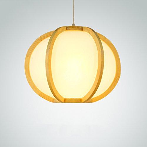 Ywyun Lampe de plafond à LED simple moderne, chandelier en bois massif en citrouille japonaise, salle de séjour, étude, décoration de chambre, lampe suspendue