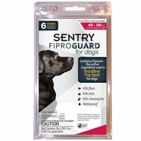 SENTRY Fiproguard for Dogs, Flea and Tick Prevention for Dogs (45-88 Pounds), Includes 6 Month Supply of Topical Flea Treatments