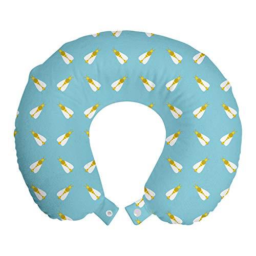 ABAKUHAUS Bijenkoningin Reiskussen, Gestreepte zoemende vliegen, Reisaccessoire met Geheugenschuim voor Vliegtuig en Auto, 30 cm x 30 cm, Sky Blue Dark Yellow