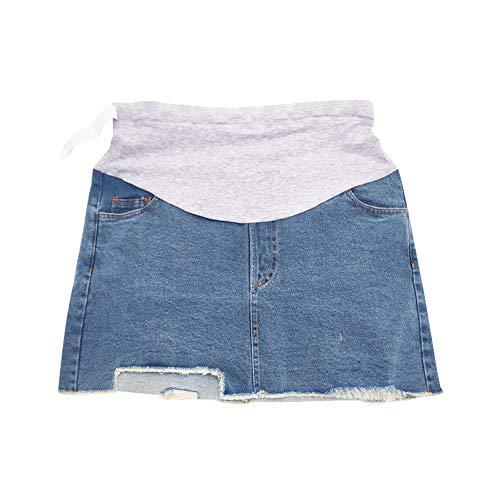 Xiedeai Damen Umstandskleidung Röcke - Frauen Schwangerschaft Jeans Rock Elastische Bauchbund A-Linie Röcke mit Gefüttert Shorts Lässig