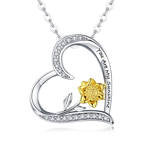 Sunflower Necklace for Women 925 Sterling Silver Sunshine Pendant Necklace'You Are My Sunshine' Heart Necklace Inspirational Jewelry Birthday Stocking Fillers Gift for Mum