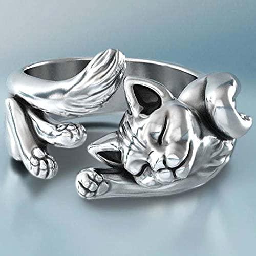 Neue Vintage Süße Katze Ringe Frauen Schmuck Geburtstagsgeschenk Trendy Open Size 925 Sterling Silber Ring Mädchen Party Zubehör