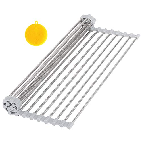 Hhyn Roll-Up Sink Drying Rack 17.7'(L) x 14'(W) - Multipurpose Heat Resistant Over The Sink Stainless Steel & Silicone Dish Drying Rack Rollable Kitchen Dish Drainer for Fruits and Vegetable