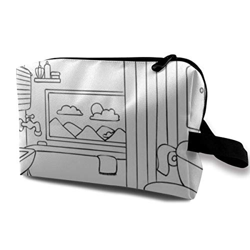 Make-up-Tasche Kosmetiktasche Handbemalt Badezimmer Graffiti Multifunktionstasche Reiseset Aufbewahrungstasche