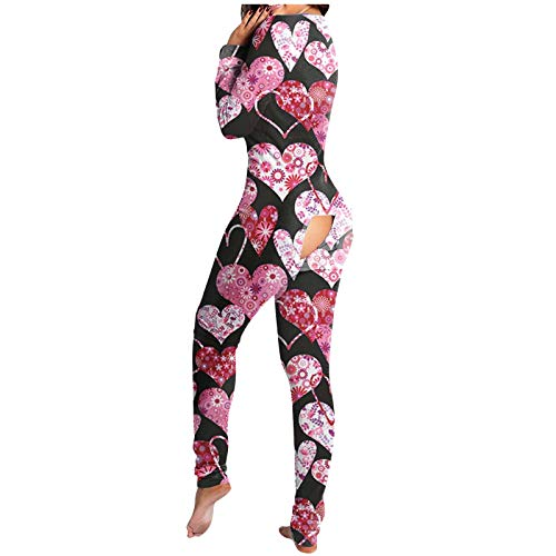 Lenfesh Sexy Pijama Mono para Mujer,Señora Pijama Traje Trasero Abierto Culo Loungewear Manga Larga Funcional Mono con Solapa Abotonada