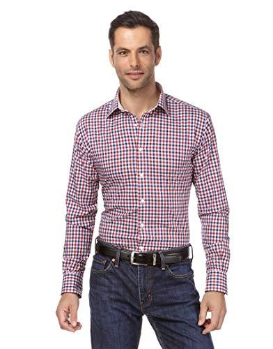 Vincenzo Boretti Herren-Hemd bügelfrei 100% Baumwolle Slim-fit tailliert kariert New-Kent Kragen - Männer lang-arm Hemden für Anzug Krawatte Business Freizeit dunkelblau/weinrot 43-44