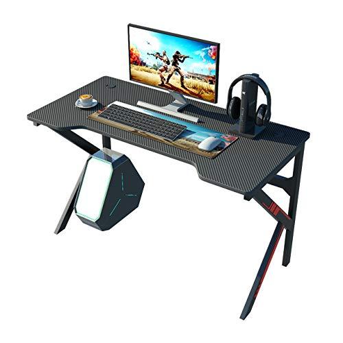 DlandHome Mesa Escritorio Gaming para Juegos Mesa para computadora de Juegos, Mesa de Juego, Fibra de Carbono, Negro
