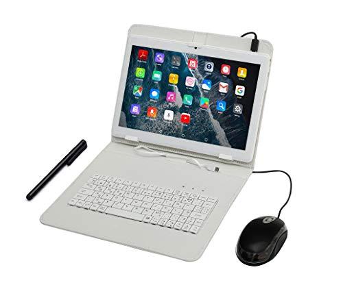 Tablette Tactile Ecran 10 Pouces, Tablet PC avec Clavier (AZERTY) Android Smartphone Débloqué Dual SIM Quad Core Ordinateur Portable,16Go ROM,Double Caméras, phablet Livré avec Souris et Stylo Tactile