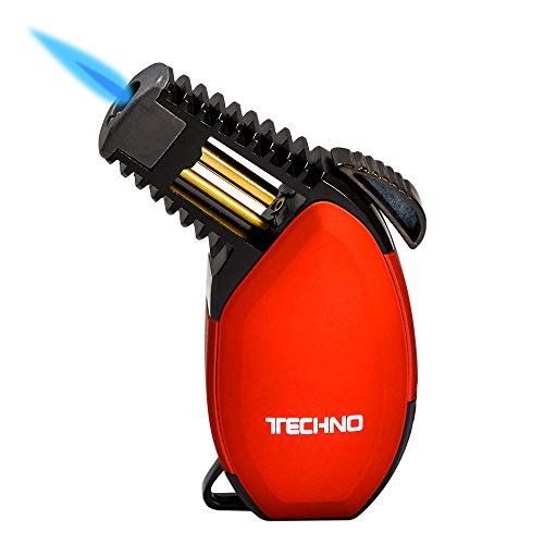 Techno Torch Rubber Slant Single Torch Lighter - Red