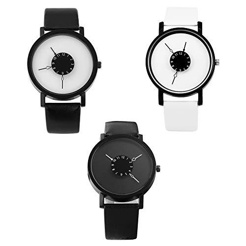 KingbeefLIU Reloj De Moda para Hombre, Número árabe, Esfera Redonda, Correa Ajustable, Reloj De Cuarzo Analógico, Regalo Negro