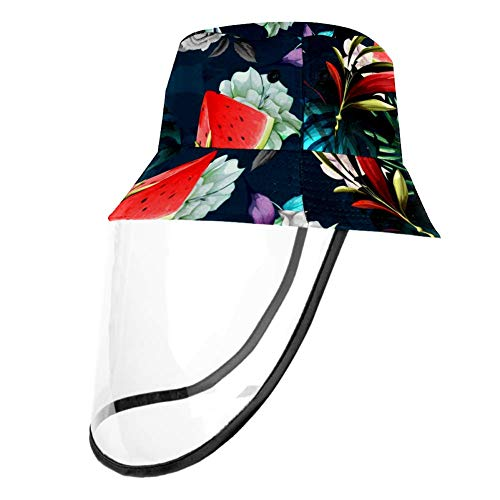 Kids Summer Play Hat UPF 50+ Bucket Travel Hat Removable Sun Cap for Boys and Girls - Summer Floral Leaves Watermelon