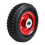 Rueda neumática hinchable de carretilla 25 cm, eje 19 mm, carga máxima 136 kg, rueda de repuesto inflable con llanta metálica para carretilla de obra o jardinería