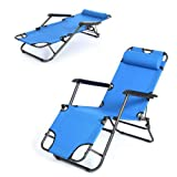 Folding Armchair Beach Deck Chair Recliner Lounge Chaise-Longue for Picnic Pool Hiking Fishing Camping Outdoor Stool