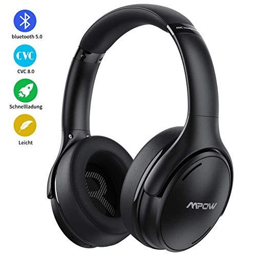 [2020 Version] Noise Cancelling Kopfhörer, Mpow Bluetooth 5.0 Kopfhörer Over Ear mit 35 Std, Mikrofon CVC 8.0 Schnellladen, Weiche Ohrenschützer & HD Klangqualität, ANC Kopfhörer für Mobiltelefone/TV