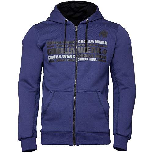 GORILLA WEAR Fitness Hoodie - Bowie Mesh Zipped - Bodybuilding Jacke Navy Blue 4XL