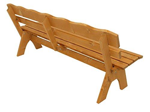 DEGAMO Gartengarnitur Freital XXL 3-teilig 200cm, 2X Bank 200cm und 1x Tisch 70x200cm, Kiefer imprängiert - 4