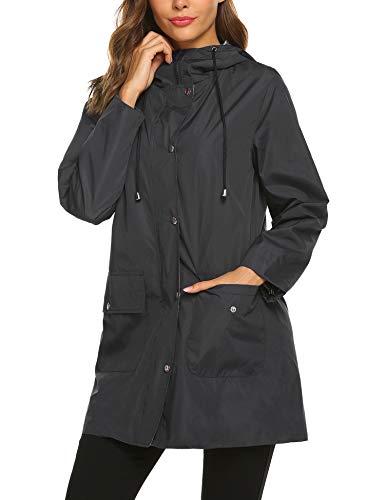 SUNAELIA Rain Jacket Women Waterproof with Stripe Liner Hood Lightweight Raincoat Outdoor Windbreaker Trench Coat S-XXL Black