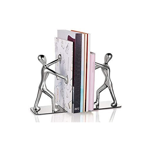 Buchstützen, modisch, robust, Kung Fu Man, Edelstahl, Buch-Organizer für Regal, kleine humanoide Buchstützen, Schule, Zuhause, Büro, Bibliothek, Dekoration, 1 Paar (Silber)