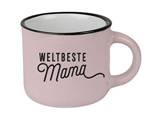 Grafik-Werkstatt Espressotasse vintage| Mini Keramik Becher zum verschenken | Weltbeste Mama, altrosa, 61422