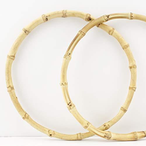 Manijas redondas de bambú de 20,5 cm para bolso de mano, para hacer bolsos, hacer bolsos, reemplazar el mango, redondo y forma de U, un par (2 piezas) por lote M10