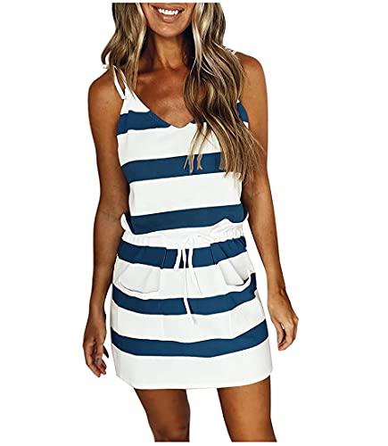 Vestido de tirantes sin mangas para mujer, con correa de espagueti, mini a rayas, con cordón, con bolsillos, moda casual