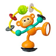 This Little monkey is a real acrobat One of its legs is equipped with a suction cup to be fixed firmly to a table, high chair For even more fun, its head and its body are clicking when turning Another leg is provided with a mirror It holds in its arm...