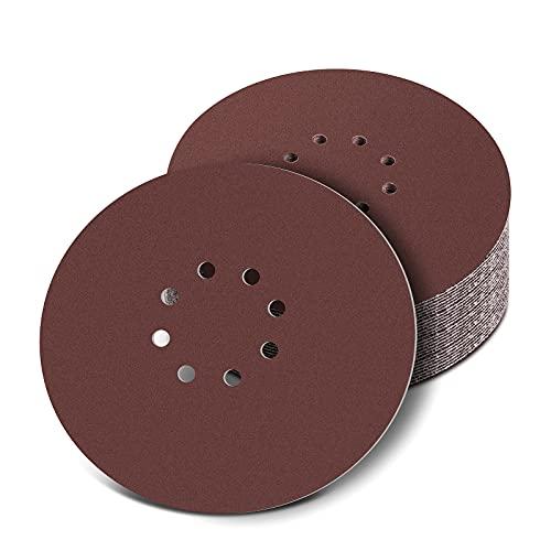 Discos de lijado de 225 mm, 30 Piezas Papeles de Lija Abrasivos con 8 Agujeros, lijadora para Construcción en Seco, lijadora de Cuello Largo(120/240 Granos)
