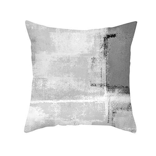 KnBoB Funda Almohada Gris Blanco Poliéster Patrón de Rayas 40 x 40 cm Estilo 9