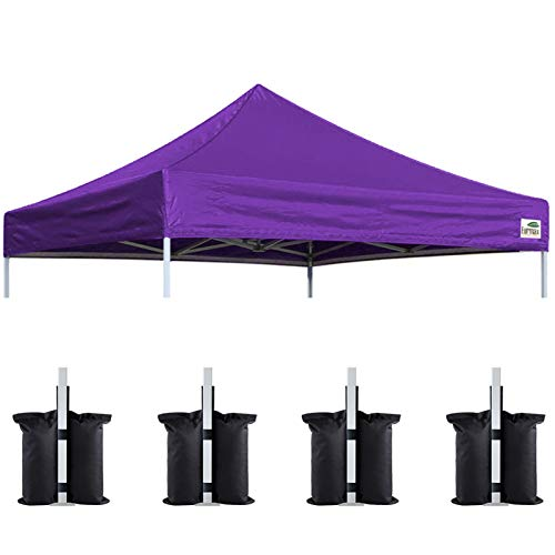 Eurmax New 10x10 Pop Up Canopy Replacement Canopy Tent Top Cover, Instant Ez Canopy Top Cover ONLY, Choose 30 Colors,Bonus 4Pc Pack Canopy Weight Bag (Purple)