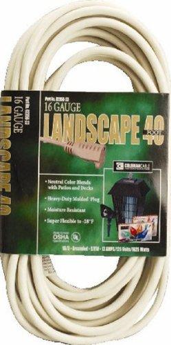 Coleman Cable 02356-01 40-Foot 16/3 Vinyl Landscape Outdoor Extension Cord, White
