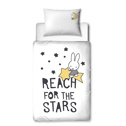 termana Miffy - Ropa de cama de franela con cremallera ☆ Reach for The Stars ☆ 1 funda de almohada 40 x 60 cm + 1 funda nórdica 100 x 135 cm ☆ Ropa de cama infantil