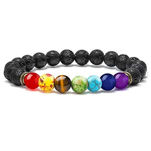 M MOOHAM Lava Rock Chakra Bracelet - 8mm Natural Stone Chakra Bead Volcanic Bracelet, Men Women Stress Relief Yoga Beads Aromatherapy Essential Oil Diffuser Elastic Bracelet Bangle