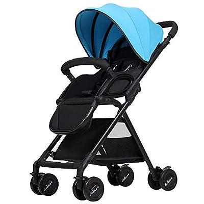 WLD Los cochecitos se pueden sentar Reclining Deck Cushioning Push Stroller 0-3 Years Baby Carriage,Azul