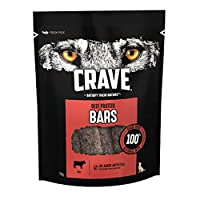 CRAVE dog treat Beef Protein Bar is made with 100 Percent natural beef CRAVE Beef Protein Bars are made with no artificial colours or flavours CRAVE Beef Protein Bars come in a fresh resealable pack to help keep your dog chews fresh Premium dog treat...