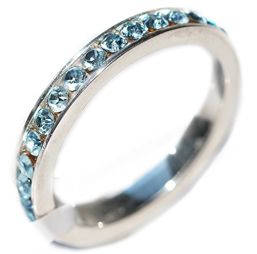 Women's Channel Set STERLING SILVER Ring. Eternity Band Handset With Aqua Blue Top Grade Crystals. 925 STAMPED.