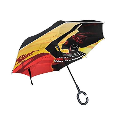 Rode paraplu, Afrikaanse vrouwen, omgekeerd, dubbele laag, paraplu, paraplu, voor de auto, buiten met handgreep in C-vorm