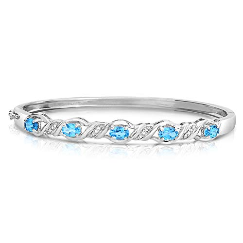 Sterling Silver Blue Gemstone Bangle Bracelets, Your choice of Blue Topaz, Created Sapphire or Created Tanzanite (Blue Topaz)