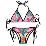 smartgood Zweiteilige Damen-Bikinis-Sets Flamingo- und Tropical Garden-Badeanzug Halfter Gepolsterte Push-Up-Beachwear für Beach Pool Black