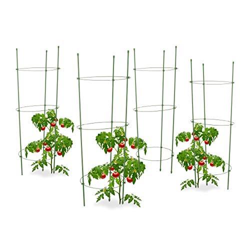 Relaxdays 4X Rankhilfe Tomaten im Set, Höhenverstellbare Ringe, Pflanzstäbe, Balkon, Beet, Kunststoff, 76 cm lang, Grün