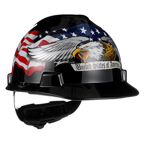 Msa 10079479 v-gard slotted hard hat, americaln eagle,, capacity, volume, polyethylene, standard, black/red/white/blue