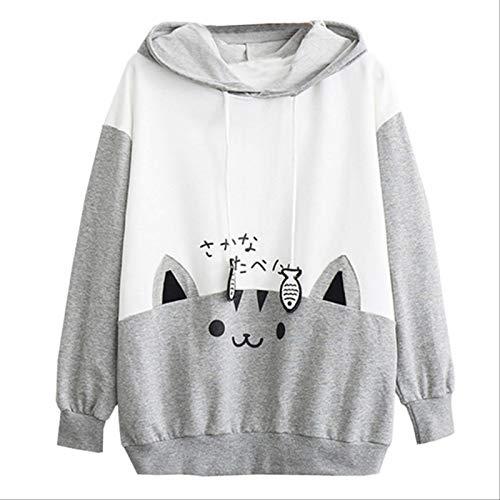 ZCMWY Womens Casual Long Sleeve Hoodies Cat Print Pocket Thin Hoodie Sweatshirts Blouse Top Shirt Coat Sudaderas Mujer S Gray