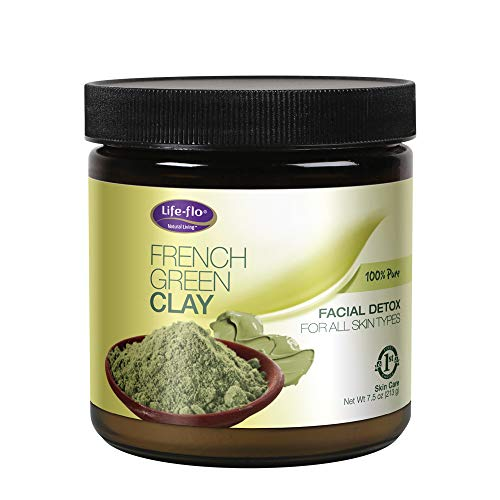 Life-Flo French Green Clay Detox Mask For All Skin Types| 100% Pure Clay Powder | Removes Impurities, Tones & Adds A Healthy Glow | Unscented | 7.5oz