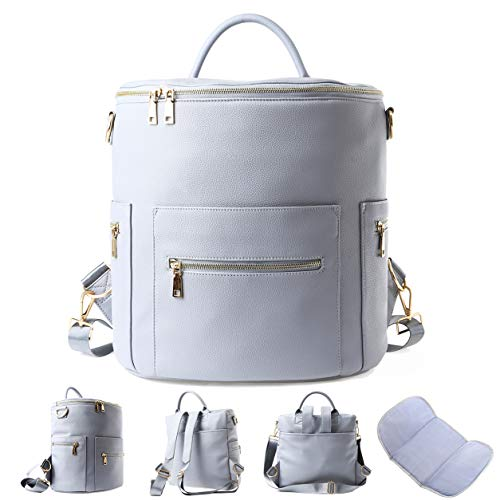 Faux Leather Diaper Bag Backpack with Insulated Pockets Designer, Large Gray
