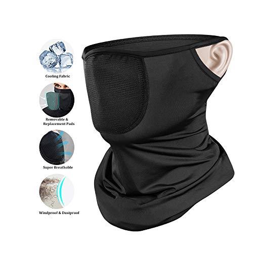 Evershop Halbe Sturmhaube mit Filter für den Herren Damen, Multifunktionstuch Halstuch UV Schutz Atmungsaktiv Motorradmaske Sturmmaske Mundschutz für Laufen Wandern Radfahren Motorradfahren