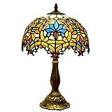 Dsrgwe Lampe à Poser Tiffany Lampe de Table en Verre teinté Abat-Jour en Aluminium for Base Chambre Salon Liseuses Table Basse, 12 Pouces