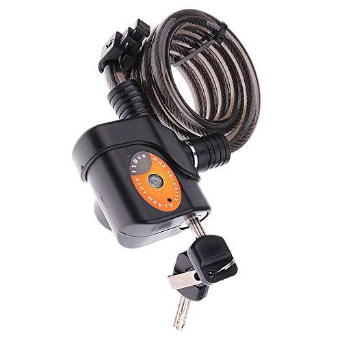 Carrapom Kabelslot voor fiets, met alarm, geluidsniveau 110 dB, hangslot, waterdicht, veiligheidsalarm, diefstalbeveiliging