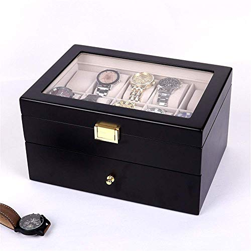 Suytan Caja de Reloj con Ranura Y Cerradura Caja de Alenamiento Caja de Reloj Alenamiento de Joyería Doble Exhibición de Empaque Caja de Madera con Caja de Vidrio Caja de Reloj con Tapa de Vidrio,Neg